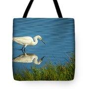 Snowy Egret Feeding  Tote Bag