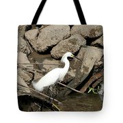 Snowy Egret Fishing Tote Bag