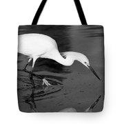 Snowy Egret Fishing Tote Bag