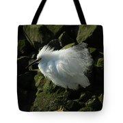 Snowy Egret Fluffy Tote Bag