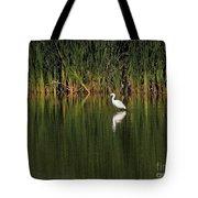 Snowy Egret In Marsh Reinterpreted Tote Bag