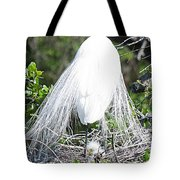 Snowy Egret Mom And Chick Tote Bag