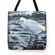 Snowy Egret On Jetty Rock Tote Bag