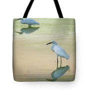 Snowy Egret Reflections  Tote Bag