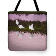 Snowy Egrets At Sunset Tote Bag