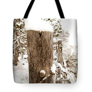 Snowy Fence Post Tote Bag