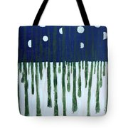 Snowy Forest At Midnight Tote Bag