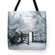 Snowy Garden Gate Three Tote Bag