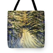 Snowy Lane Tote Bag