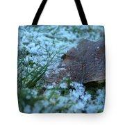Snowy Leaf Tote Bag