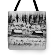Snowy Log Cabins At Valley Forge Tote Bag