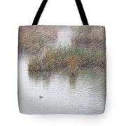 Snowy Marsh With Duck Tote Bag