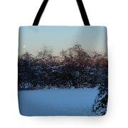 Snowy Moonset Tote Bag