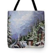 Snowy Mountain Resort Tote Bag