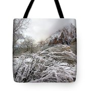 Snowy Mountains In Zion Tote Bag
