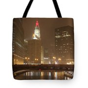 Snowy Night In Chicago Tote Bag