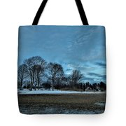 Snowy Obear Park, Beverly Ma, At Dusk Tote Bag