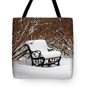 Snowy Park Bench Tote Bag