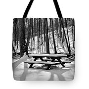 Snowy Picnic Table In Black And White Tote Bag