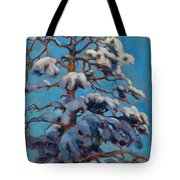 Snowy Pine-tree Tote Bag