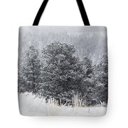 Snowy Pines In The Pike National Forest Tote Bag