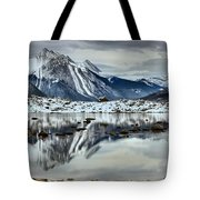 Snowy Reflections In Medicine Lake Tote Bag