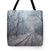 Snowy Road At Dawn  Tote Bag