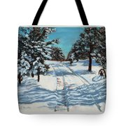 Snowy Road Home Tote Bag