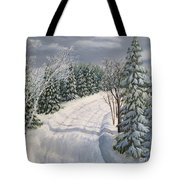 Snowy Road  Tote Bag