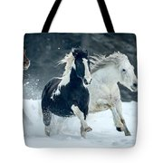 Snowy Run Tote Bag