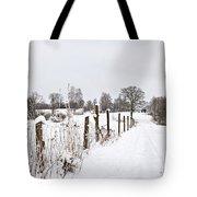 Snowy Rural Landscape Tote Bag