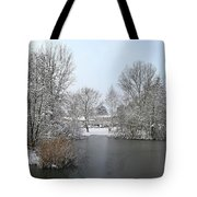 Snowy Scenery Round Canals Tote Bag