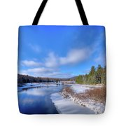 Snowy Shore Of The Moose River Tote Bag