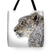 Snowy Snow Leopard Tote Bag