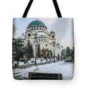 Snowy St. Sava Temple In Belgrade Tote Bag