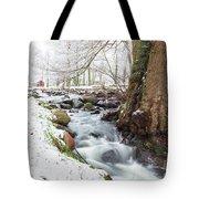 Snowy Stream Landscape Tote Bag