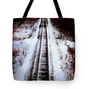 Snowy Train Tracks Tote Bag