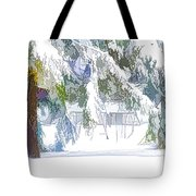 Snowy Trees In Winter Landscape  Tote Bag