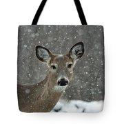 Snowy Winter Deer Tote Bag