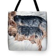Snuggling Yorkies Tote Bag