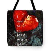 So In Love With You - Romantic Red Heart Painting Tote Bag by Sharon Cummings