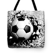 Soccer Ball Breaking Forcibly Through A White Wall. 3d Illustration. Tote Bag