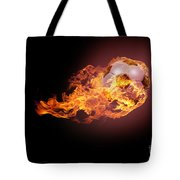 Soccer Ball With Fire Tote Bag