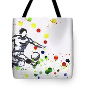 Soccer Player In Action Tote Bag