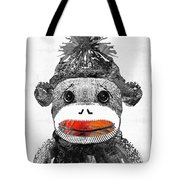 Sock Monkey Art In Black White And Red - By Sharon Cummings Tote Bag