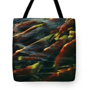 Sockeye Salmon Swim Upstream To Spawn Tote Bag
