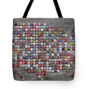 Soda Pop Bottle Cap Map Of The United States Of America Tote Bag