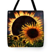 Solar Corona Over The Sunflowers Tote Bag