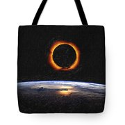 Solar Eclipse From Above The Earth Painting Tote Bag