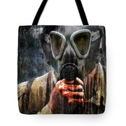 Soldier In World War 2 Gas Mask Tote Bag